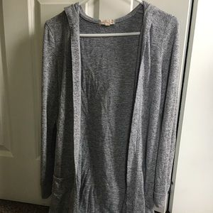 Gray duster cardigan with hood